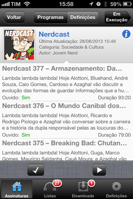 Lista de podcasts no RSS Radio (app de podcasts no iPhone)